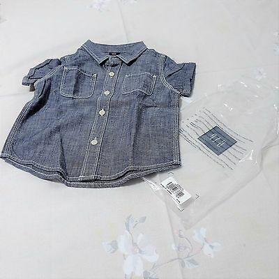 Baby Gap Chambray Denim Button Up Short Sleeve Shirt 18-24 months - NEW WITH TAG