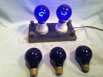 2 Antique Solid Cobalt Blue Glass 25W Light Bulbs vintage Brooklyn Movie Theater