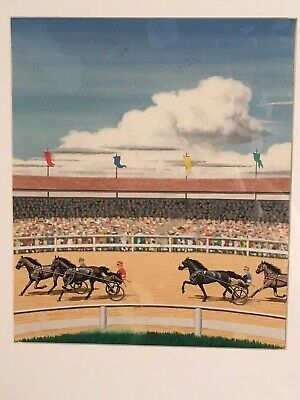VINTAGE 1940's ORIGINAL HORSE RACE PAINTING HARNESS RACING TROTTER BOARD GAME