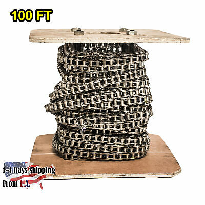 #40 SS Stainless Steel Roller Chain 100 Feet with 10 Connecting Links