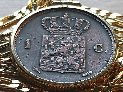 "1862 Netherlands Royal Lion Bronze Cent Pendant on a 24"" 18kgf Gold Filled Chain"