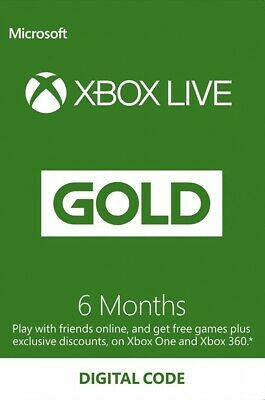 Microsoft Xbox Live Gold 6 Month Membership Code *INSTANT DELIVERY*