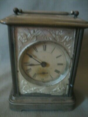 Antique 19th Century Nickel Plated Brass Ansonia Carriage Travel Alarm Clock
