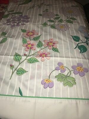 Vintage Martex Barbara Brody King Size Pair Floral Pillowcases Percale Flowers