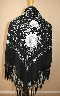 Vintage Embroidered Black Silk Piano Shawl