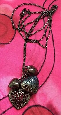 Vintage Antique Black Gothic Filigree Love Heart Charm Necklace Estate Find Vtg