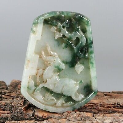 Chinese Exquisite Hand-carved goat Carving jadeite jade Pendant