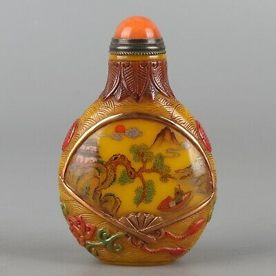 Chinese Exquisite Handmade landscape pattern Glass snuff bottle