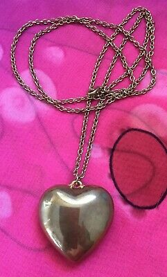 Vintage Antique Gold Large Puff Love Heart Pendant Long Necklace Estate Find