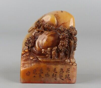 Chinese Exquisite Hand carved landscape figure Carving Shoushan Stone seal