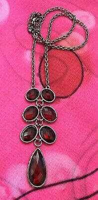 Vintage Antique Dark Silver Red Crystal Chain Necklace Estate Find Vtg Gothic