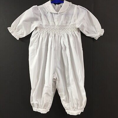 Vintage Baby Girl Cotton Smocked White Embroidered Lace Romper Outfit 6-9 Months