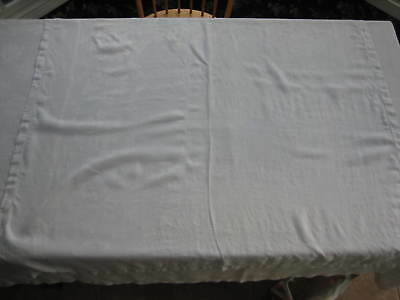 """Vintage White Linen Tablecloth - Rose Damask, Cutouts, Pulled Thread - 49"""" X 51"""""""