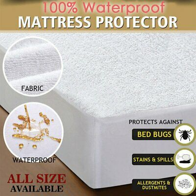 Mattress Protector Waterproof Fully Fitted Terry Cotton Sheet Cover All Size O#