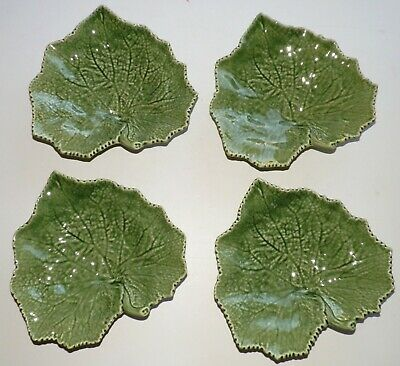 4 BORDALLO PINHEIRO PORTUGAL GREEN GRAPE LEAF PLATES Art Pottery