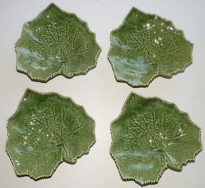 4 Bordallo Pinheiro Portugal Green Grape Leaves Plates