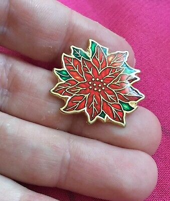 Vintage Antique Gold Christmas Enamel Poinsettia Brooch Pin Estate Find Xmas