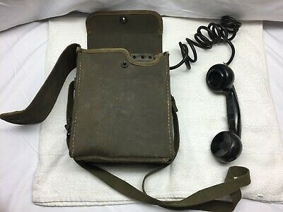 Vintage US Army Signal Corps Field Phone With TS-9-K Receiver Telephone WW2 ERA