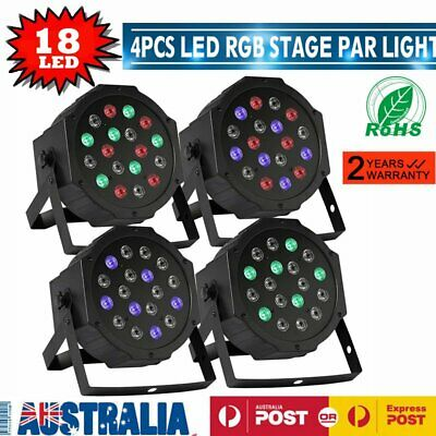4x RGB 18LED Stage Club Beam DMX 512 36W Effect Light Dance Wedding Disco Xmas