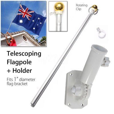 Aluminum 5FT Telescoping Australian Aussie Flag Pole Flagpole +Screws Holder