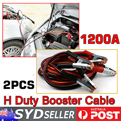 2 x Heavy Duty 1200AMP Jump Booster Cable Jumper Leads 5M Long Car Truck Battery