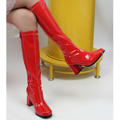 Womens 7CM High Block Heel Knee-High Boots 60's 70's Style Go Go Fashion Boots