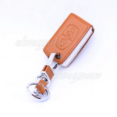 Leather Key Case Cover Fob for Peugeot 308 207 307 807 Citroen C3 C4 Brown