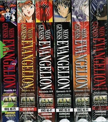 Set of 6 Neon Genesis Evangelion VHS Video Tape Lot New Anime English Dubbed
