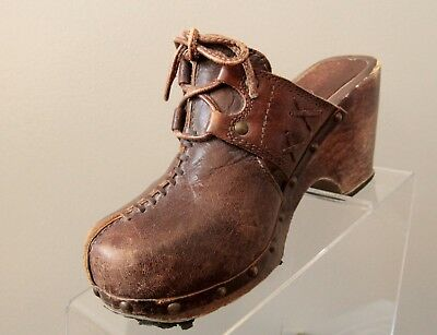 cb3fd3c8bad Vtg Candies Womens Size 6M Brown Leather Wedge Clogs Mules Slip On 58-73763