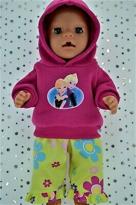 "Play n Wear Doll Clothes For 17"" Baby Born HOT PINK HOODIE~FLORAL PATTERN PANTS"