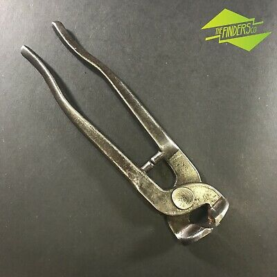 """Vintage Cast Steel 8"""" Flush Tile Nippers Carbide Tipped Old Tools Mosaic Craft"""