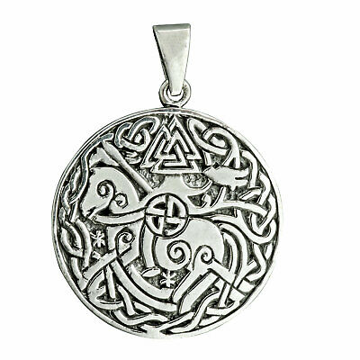 Celtic Knot Horse Rider Valknut Symbol Triquetra Pendant 8 g 925 Sterling Silver