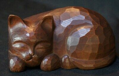 Japan Neko Kibori wood carving sculpture 1950s Japanese art craft