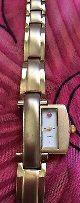 Vintage Antique Gold Quartz Pink Stone Crystal Hidden Slider Watch Estate Find