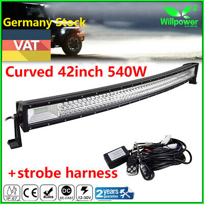 Curved 42inch 540W Tri Row LED Work Light Bar for Off road 4WD + Strobe Harness