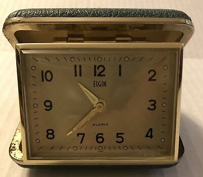 Elgin Travel Alarm Clock Green Clam Shell Wind Up Tested J