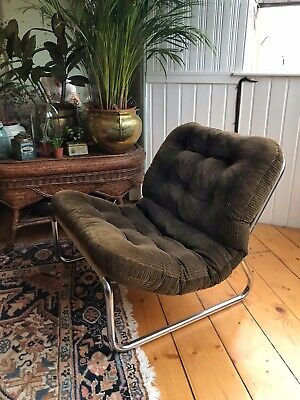 Vintage Mid Century Retro Chrome Framed Corduroy Lounge Easy Chair