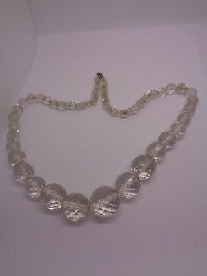 ANTIQUE CRYSTAL CUT GLASS FACETED BEADS NECKLACE GRADUATED BALL CUT party prom