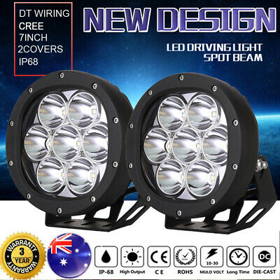 Pair 7 inch CREE LED SPOT Driving Lights 4X4 Round Spotlights Black New Design