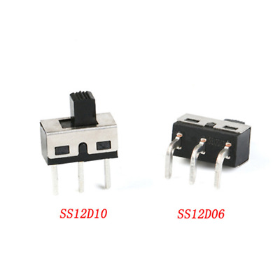 SS12D10 SS12D06 Toggle Switch 3 Pin Straight Bent Feet 4.7mm Spacing 5mm Handle