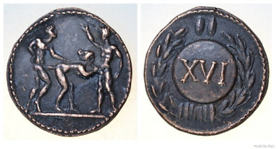 Roman Spintria Brothel Entry Token XVI Bronze