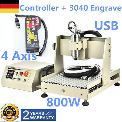Controller + CNC 3040 4 Axis USB DESKTOP Milling Engraving Router Engraver 800W