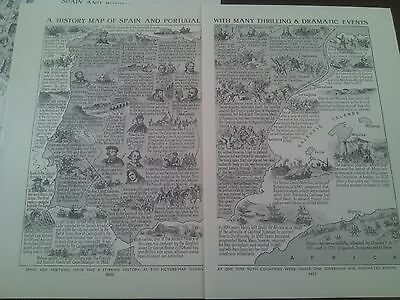 1924 Map of Historical Events of Spain & Portugal 2 Small Pages to Frame?