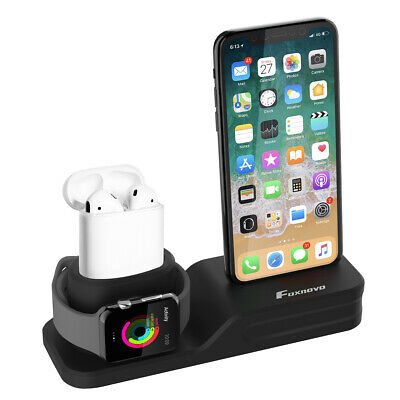Support de Charge pour iPhone Apple Watch 3en1 Station de Recharge en Silicone
