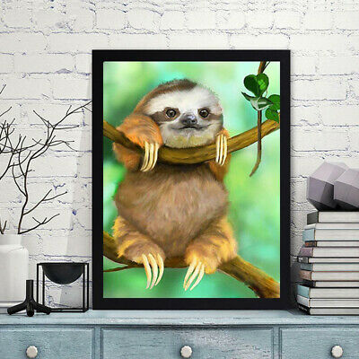 AU 5D DIY Full Drill Diamond Painting Cute Sloth Cross Stitch Embroidery 40x30cm