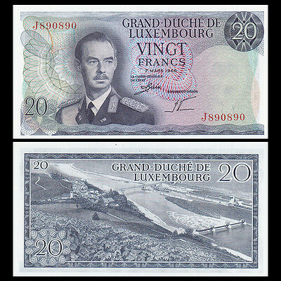 Luxembourg 20 Francs Banknote, 1966, P-54, Banknote, UNC, Europe Paper Money