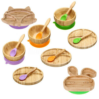 Baby Toddler Suction Plate Stay Put Feeding Plate Natural Bamboo Rabbit Shape AU