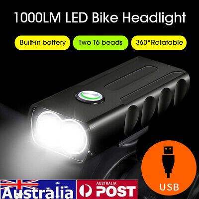 LED Cycle Bicycle Bike Light Head Front Back Headlight Mountain USB Rechargeable