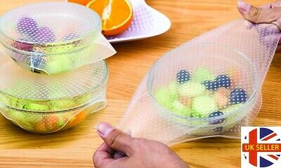 4 Pieces Set Reusable and Adjustable Silicone Food Covers Seal Wrap Stretch Lid