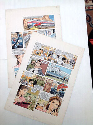 Original Comic Art 2 page lot of AIRWOLF by Gray